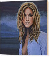 Jennifer Aniston Painting Wood Print