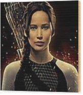 Jennifer Lawrence As Katniss Everdeen Wood Print