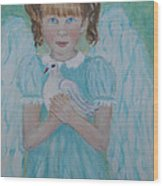 Jenny Little Angel Of Peace And Joy Wood Print by The Art With A Heart By Charlotte Phillips