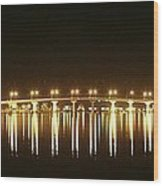 Jensen Causeway At Night Wood Print by Lynda Dawson-Youngclaus