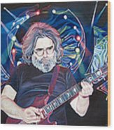 Jerry Garcia And Lights Wood Print