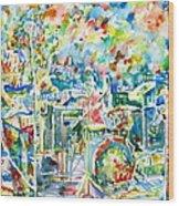 Jerry Garcia And The Grateful Dead Live Concert - Watercolor Portrait Wood Print