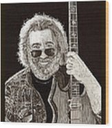 Jerry Garcia String Beard Guitar Wood Print