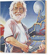 Jerry Garcia Live At The Mars Hotel Wood Print