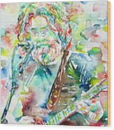 Jerry Garcia Playing The Guitar Watercolor Portrait.2 Wood Print