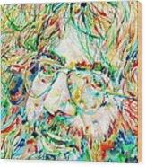 Jerry Garcia Watercolor Portrait.1 Wood Print by Fabrizio Cassetta