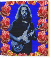 Jerry In Blue With Rose Frame Wood Print