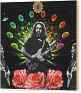 Jerry Spacepods Triple Jerry Ufo Roses Under Cosmic Sun Wood Print