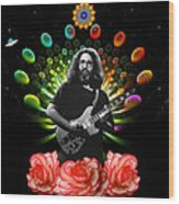 Jerry Spacepods Ufo Roses Under Cosmic Sun Wood Print