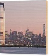 Jersey City And New York City  With Manhattan Skyline Over Hudso Wood Print