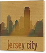Jersey City New Jersey City Skyline Watercolor On Parchment Wood Print