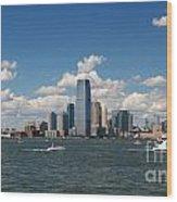 Jersey City Skyline From Harbor Wood Print