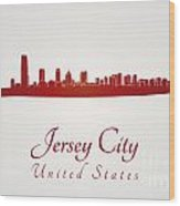 Jersey City Skyline In Red Wood Print