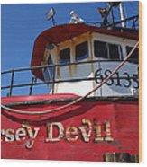 Jersey Devil Clam Boat Wood Print