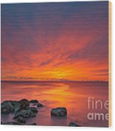 Jersey Shores Fire In The Sky Version 2 Wood Print