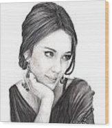 Jessica Alba Wood Print