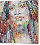 Jessye Norman - Watercolor Portrait Wood Print
