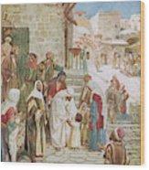 Jesus Advises His Disciples To  'suffer Wood Print