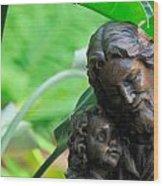 Jesus And Child Statute Wood Print