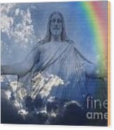 Jesus And Light With Rainbow Wood Print