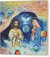 Jesus And Mary Cloud Colored Christ Come Wood Print