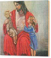 Jesus And The Children Wood Print
