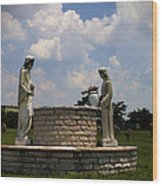 Jesus And The Woman At The Well Cemetery Statues Wood Print