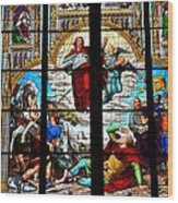 Jesus Angels Stained Glass Painting Inside Cologne Cathedral Germany Wood Print