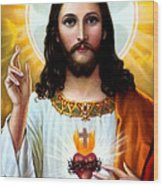 Jesus Big Heart Wood Print