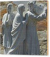 Jesus Carrying Cross Wood Print