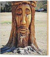 Jesus Carving Wood Print