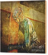 Jesus Falls Via Dolorosa 3 Wood Print by Lianne Schneider