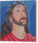 Jesus Hand Embroidery Wood Print by To-Tam Gerwe