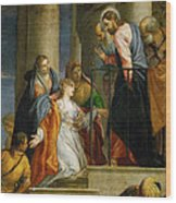 Jesus Healing The Woman With The Issue Of Blood Wood Print