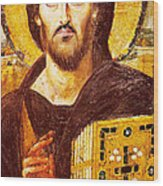 Jesus Icon At Saint Catherine Monastery Wood Print