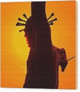 Jesus In Sunset 2 Faith Wood Print