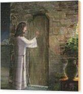 Jesus Knocking On The Door Wood Print by Cecilia Brendel