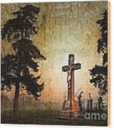 Jesus On The Cross Wood Print