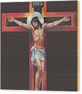 Jesus On The Cross Wood Print