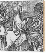 Jesus On The Donkey Palm Sunday Etching Wood Print