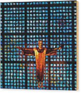 Jesus Sculpture And Blue Glass Background Wood Print