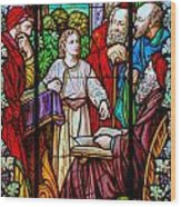 Jesus Teaches In The Temple Wood Print