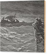 Jesus Walking On The Sea John 6 19 21 Wood Print by Gustave Dore