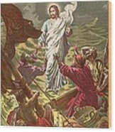 Jesus Walking On The Water Wood Print