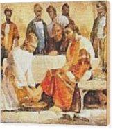 Jesus Washing Apostle's Feet Wood Print
