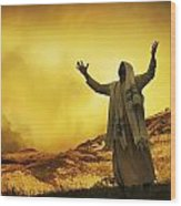 Jesus With Arms Stretched Towards Heaven Wood Print