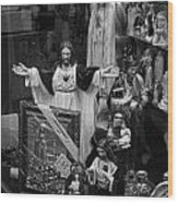 Jesus With Arms Wide Open Religious Figurines In A Shop Window In Toronto Wood Print