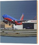 Jet Chicago Airplanes 12 Out Of Bounds Wood Print