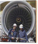 Jet Engine And Air Mechanics Wood Print