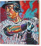Jeter At Bat Wood Print